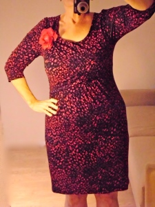 This dress 10 Euros (on sale) at Voegele. A  bit of red goes a long way!