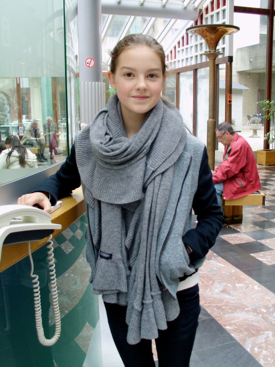 Pauline is Beautiful in her gray scarf!