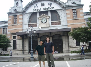 With Jeff in front of the old Seoul Train Station