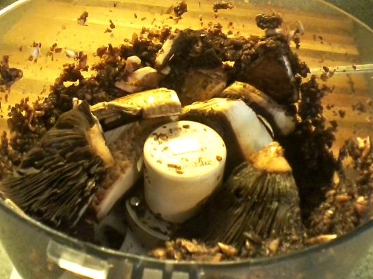 Finely chop the portobello mushrooms